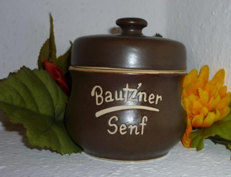 Bild 4: Bautzner Senftopf beige - blau  incl. Bautzener Becher