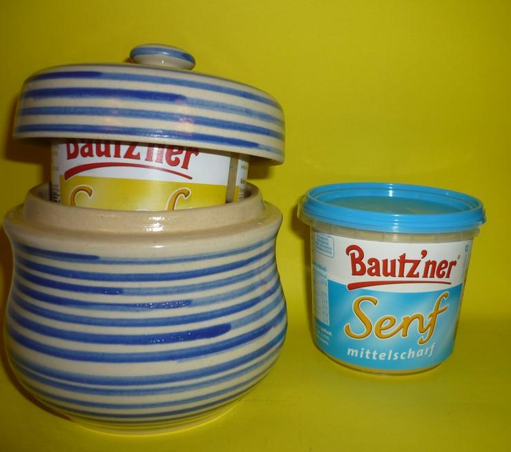 Bild 6: Bautzner Senftopf beige - blau  incl. Bautzener Becher