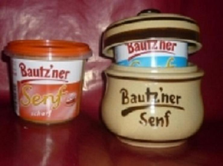 Bild 3: Bautzner Senftopf beige - blau  incl. Bautzener Becher
