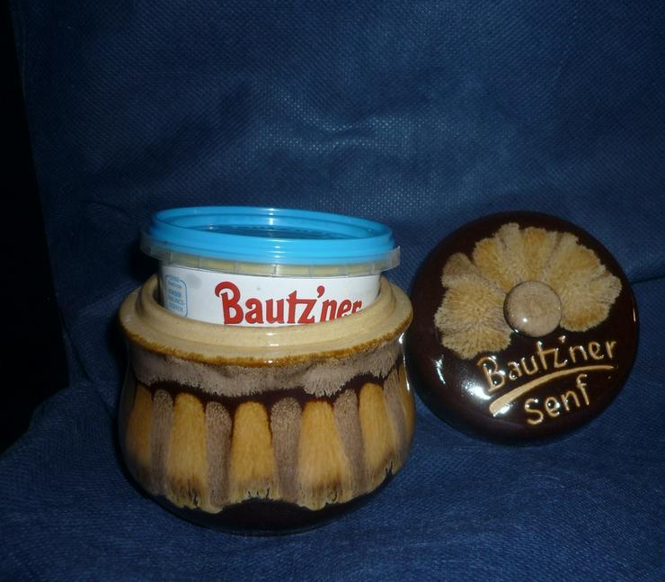 Bild 5: Bautzner Senftopf beige - blau  incl. Bautzener Becher