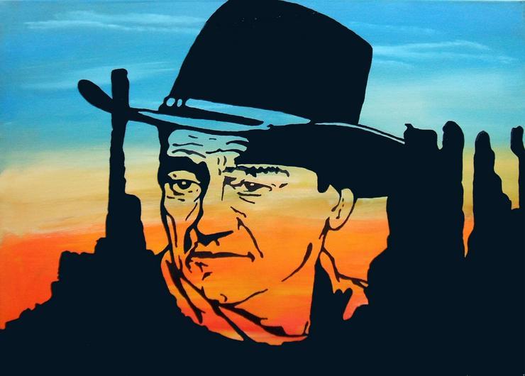 John Wayne - Acryl Silhouetten Gemälde - 50 x 70 cm