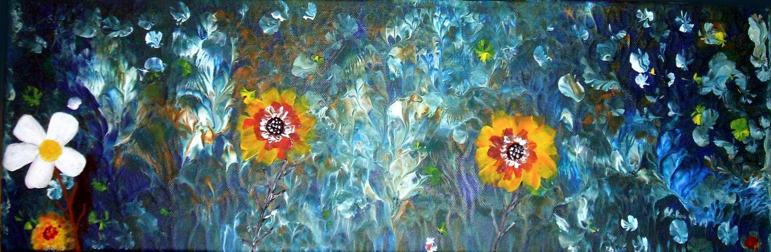 Abstrakte, Moderne Malerei - Acryl Blumem Gemälde ist 20 x 60 cm