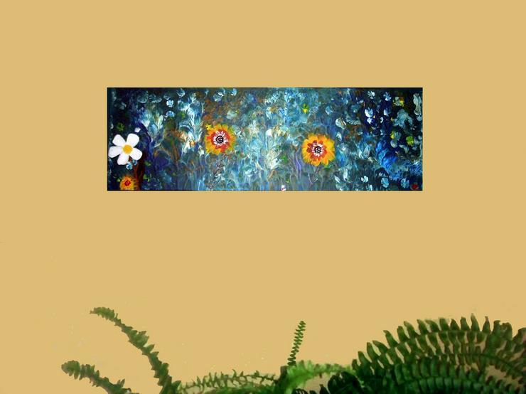 Bild 2: Abstrakte, Moderne Malerei - Acryl Blumem Gemälde ist 20 x 60 cm