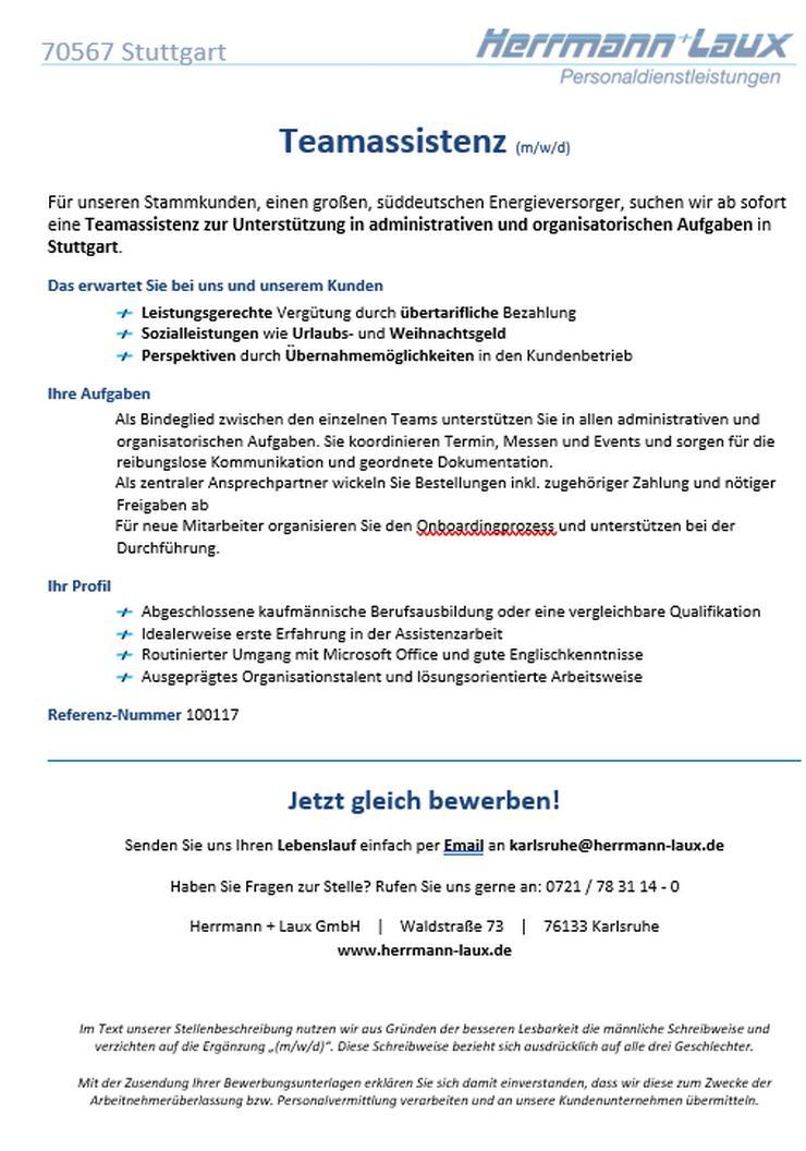 Teamassistenz (m/w/d) - Sekretariat - Bild 1