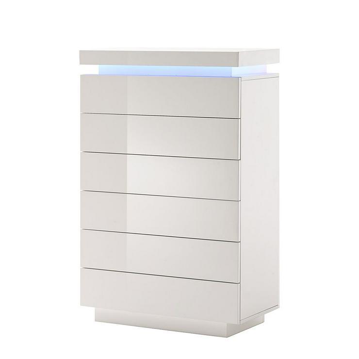 Kommode Emblaze 1, Hochglanz Weiß mit LED-Beleuchtung