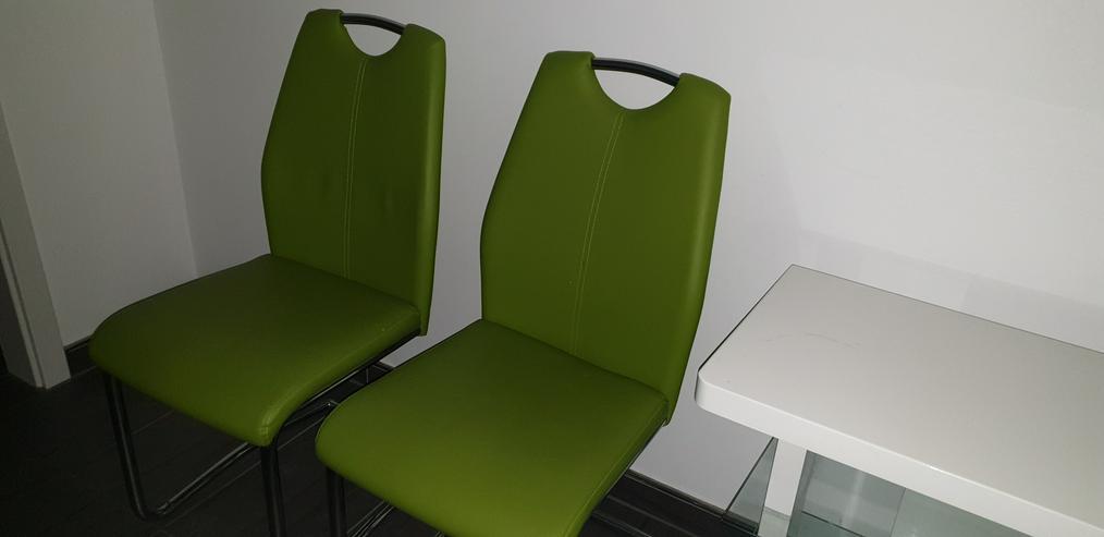 Bild 3: SCHWINGSTUHL Apfelgrün, moderne Freischwinger im Chrom & Lederlook 4x