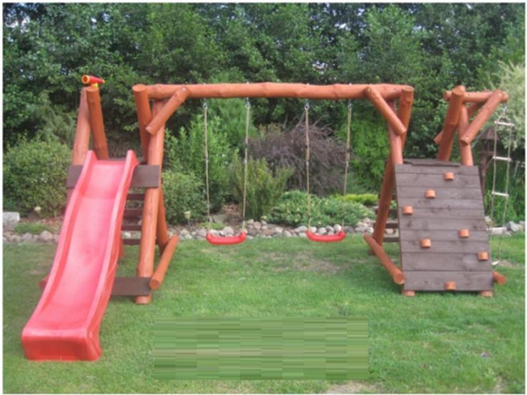 Bild 2: PREMIUM Holz Spielturm mit Kletterturm 2x Schaukel 1x Rutsche Garten Spielhaus