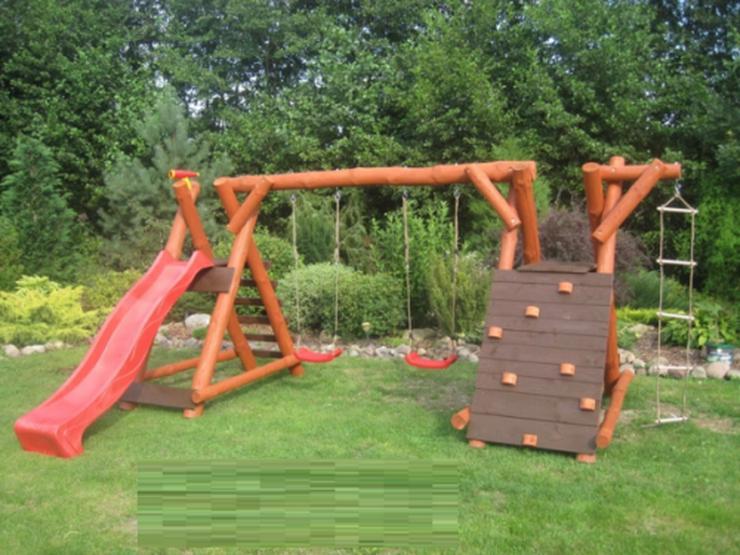 PREMIUM Holz Spielturm mit Kletterturm 2x Schaukel 1x Rutsche Garten Spielhaus  - Weitere - Bild 1