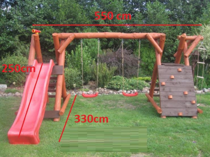 Bild 4: PREMIUM Holz Spielturm mit Kletterturm 2x Schaukel 1x Rutsche Garten Spielhaus