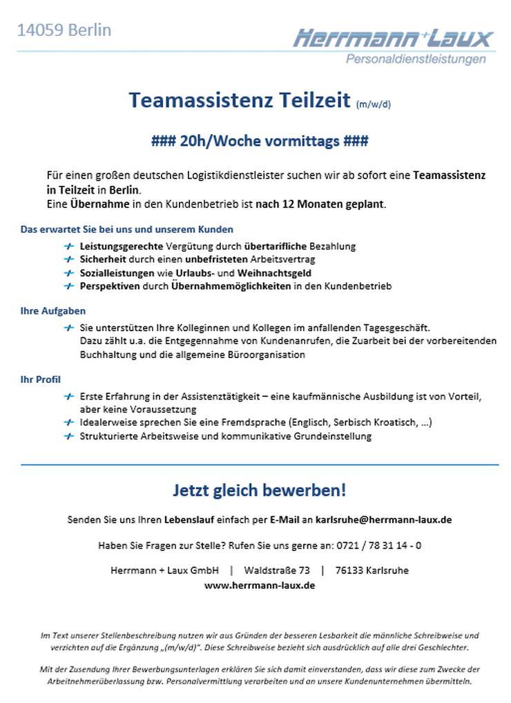 Teamassistenz Teilzeit (m/w/d)