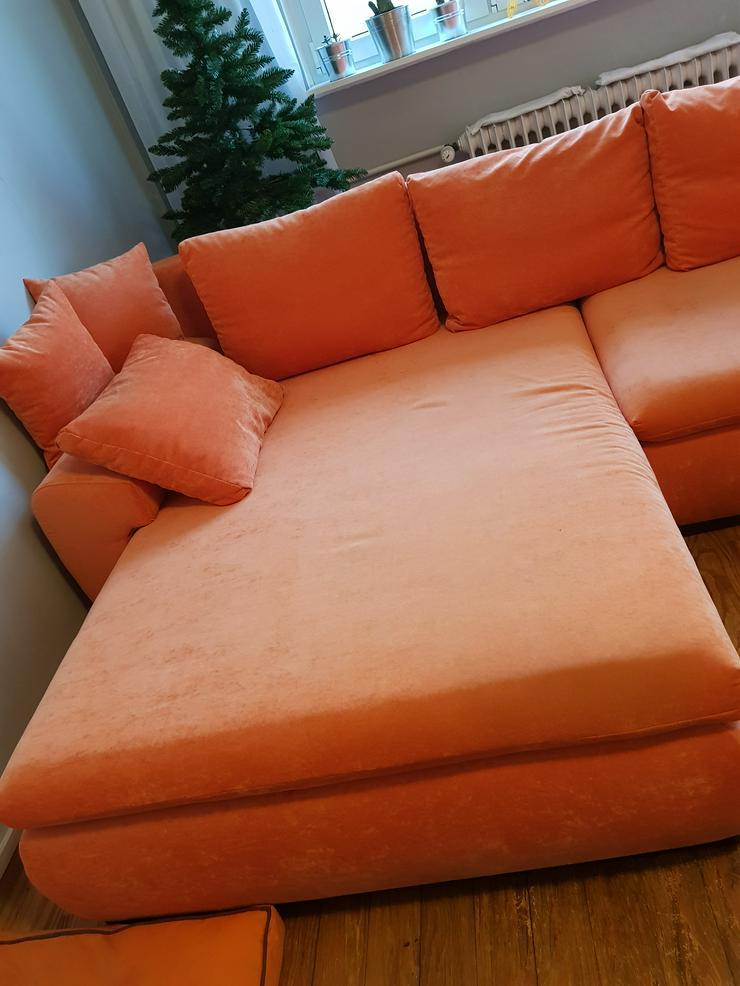 Eckcouch in Orange  ( gebraucht ) günstig zu verkaufen