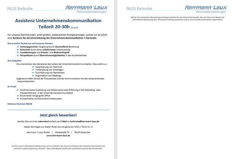Assistenz Unternehmenskommunikation Teilzeit 20-30h (m/w/d)