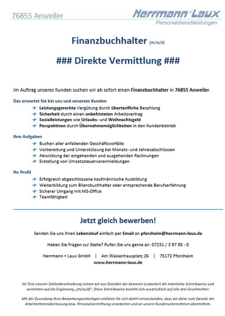 Finanzbuchhalter (m/w/d) - direkte Vermittlung