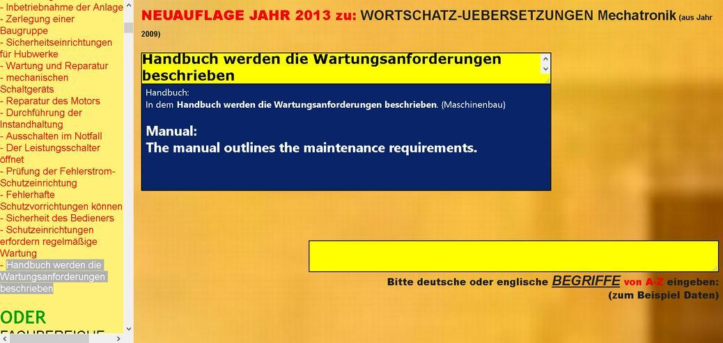 englisch-deutsch Sprachlern-Tool fuer TECHNISCHE UEBERSETZUNGEN