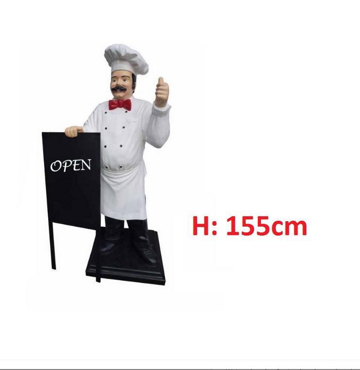 Koch mit Tablett, Angebotsschild H: 155cm Lebensgross Neu - Premium