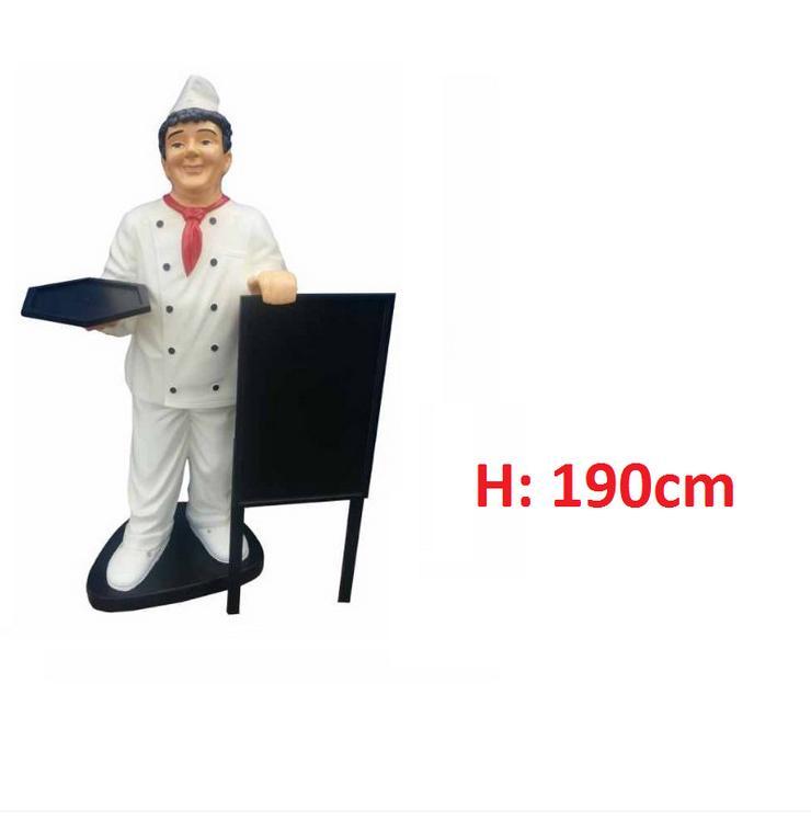 Koch mit Angebotsschild H: 190cm Lebensgross Neu - Premium