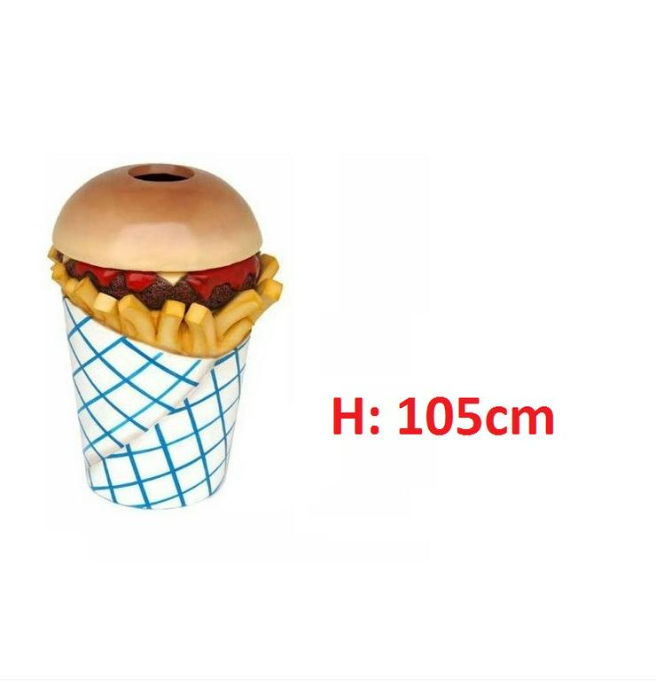 Hamburger Pommes Mülleimer Figuren H: 105cm Neu - Premium