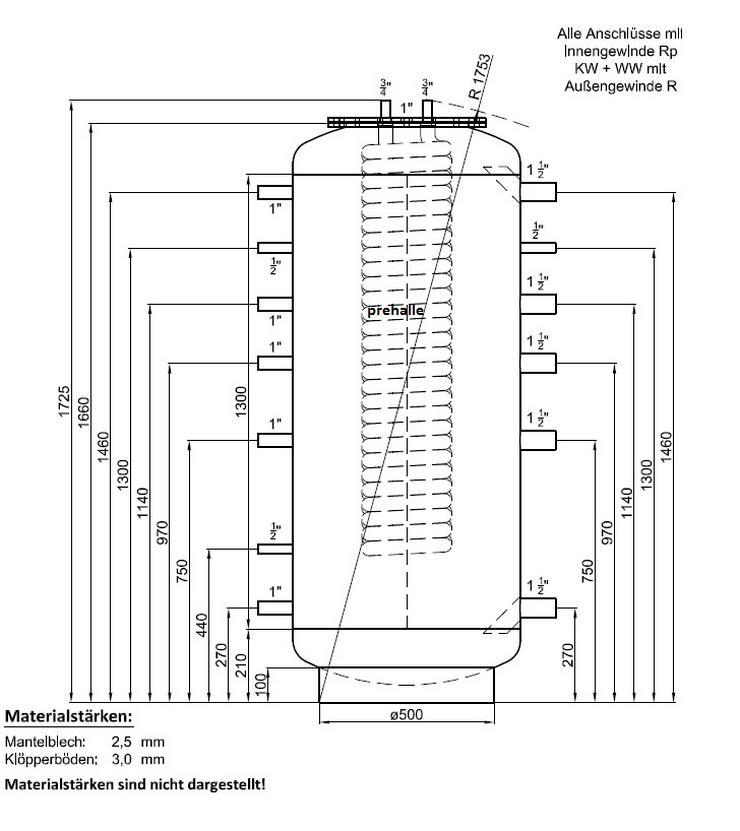Hygiene Kombispeicher 500L 1 WT 180° Anschluss Für Heizung Pellet