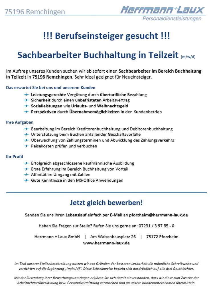 Sachbearbeiter Buchhaltung in Teilzeit (m/w/d)