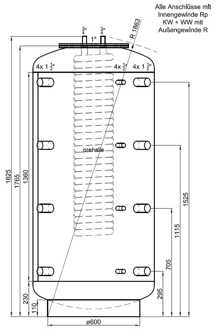Hygiene Kombispeicher 800L 1 WT, 90° Anschluß. Für Heizung Kamin