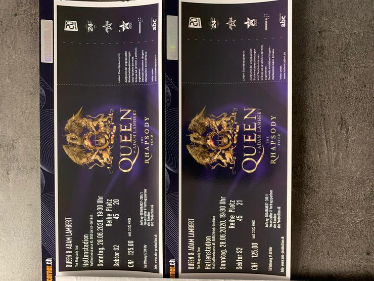 2 Queen & Adam Lambert Tickets S2, 28.06.2020 Zürich