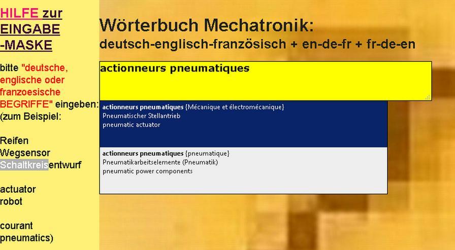Franzoesisch-Uebersetzung: elektrotechnische Texte (Saetze; Formulierung) + Begriffe (Wortzusammensetzung)