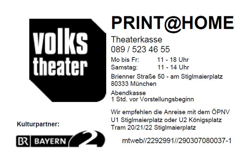 2 Theaterkarten, Volkstheater München: Der Kaufmann von Venedig 3.2.2020