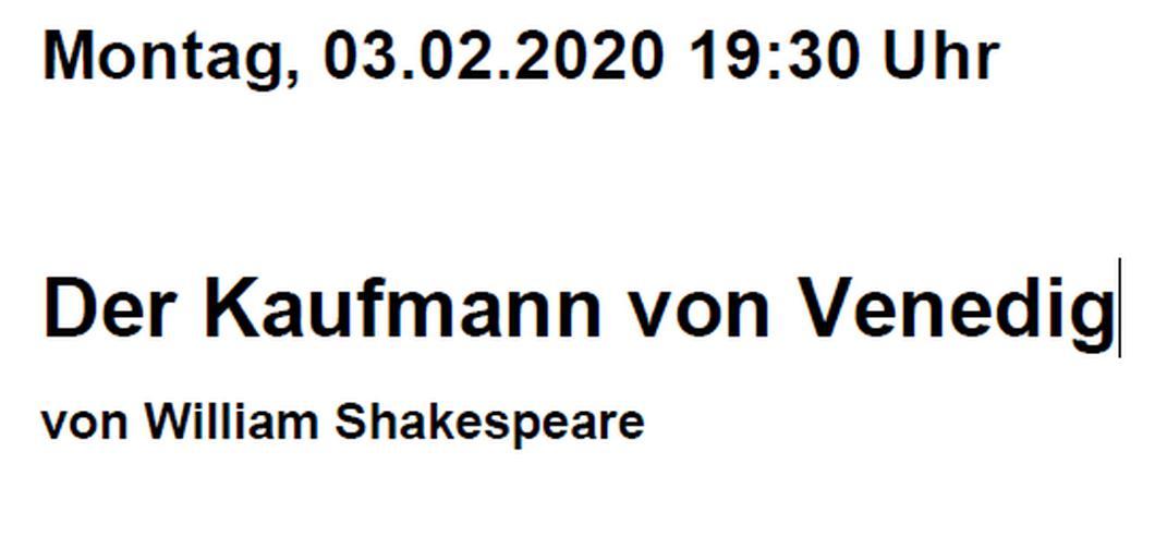Bild 2: 2 Theaterkarten, Volkstheater München: Der Kaufmann von Venedig 3.2.2020