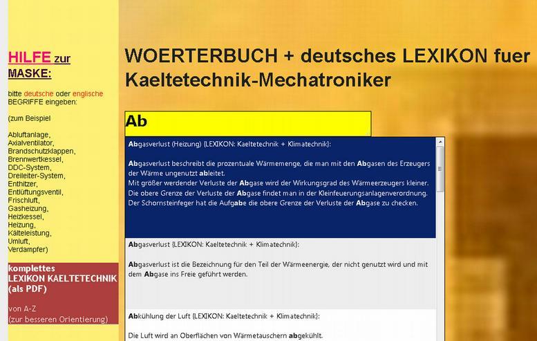 der Mechatroniker- Kaeltetechnik uebersetzt englische Fachwoerter