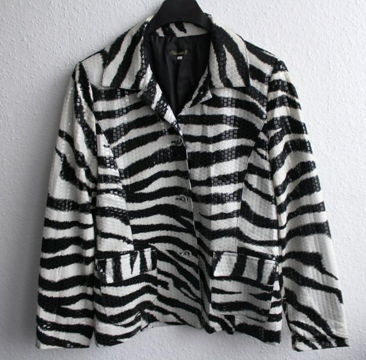 Jacke schwarz weiß Zebramuster Vintage Gr. 38/40