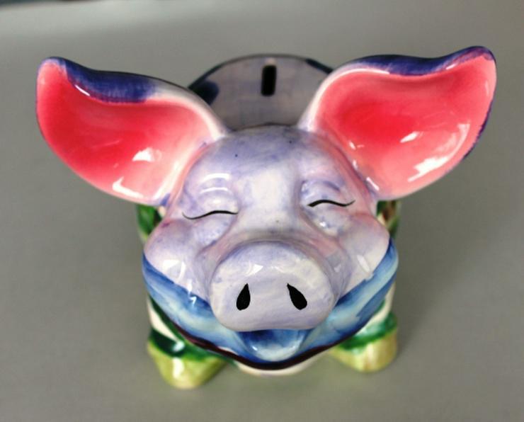 Großes Keramik Sparschwein Handbemalt
