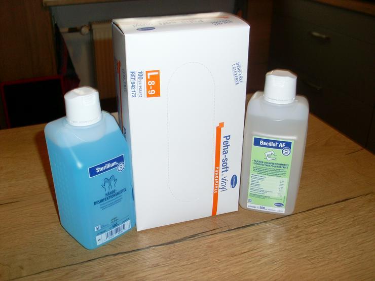 3er Pack Hygiene Paket Sterillium, 100 Handschuhe,Desinfektionsmittel
