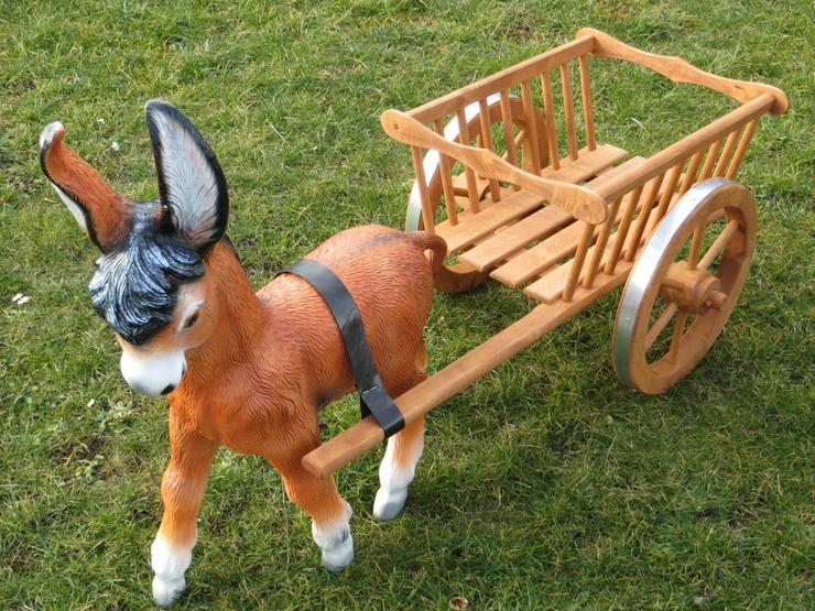 Dekofiguren Gespanne Eselgespann Pferdegespann NEU