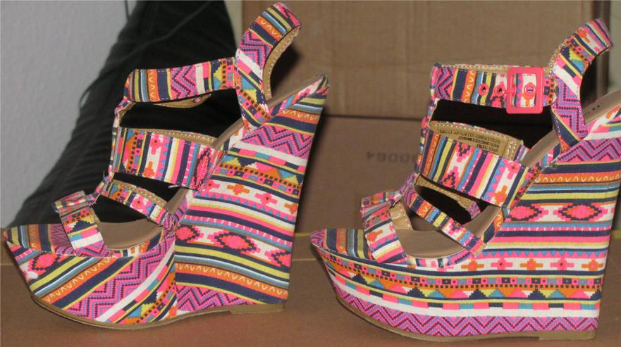 """Bild 4: bunte Wedges Sandalen High Heels von """"JustFab"""" Gr. 40, Karneval"""