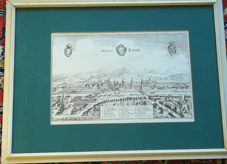 Alter Kupferstich von Innsbruck 58x43,5 (B072)