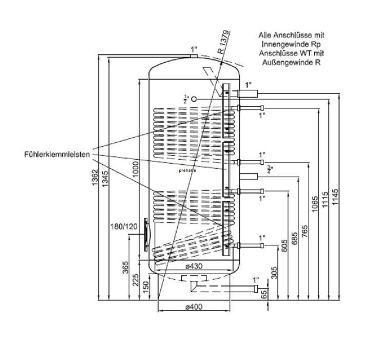 PRE Edelstahl Solarspeicher 200L 2WT für Solar Heizung Warmwasser - Holz- & Pelletheizung - Bild 1