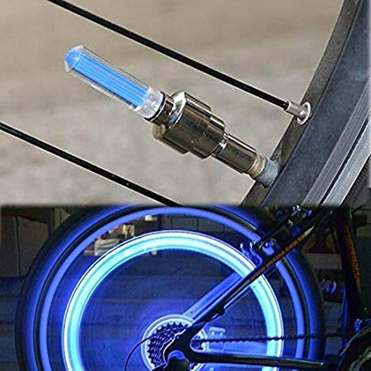 Bild 3: 2 LED Ventielkappenlichter, blau für Fahrrad, Motorad und oder Auto