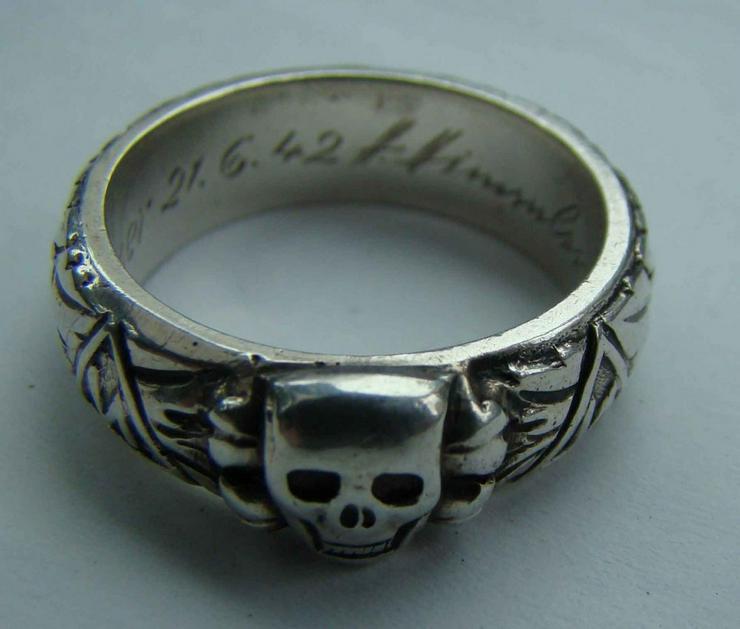 Silber Ring Totenkopf aus Wk2 (21.6.42) - Weitere - Bild 1