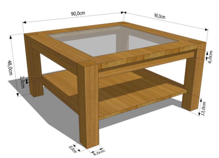 Bild 2: COUCHTISCH KAFFEETISCH EICHENHOLZ WOHNZIMMERTISCH MASSIVHOLZ SOFATISCH 90x90x48