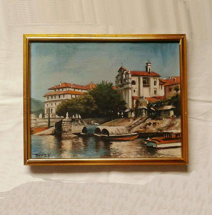 Bild 2: Kleines Ölgemälde Blick auf den Kanal