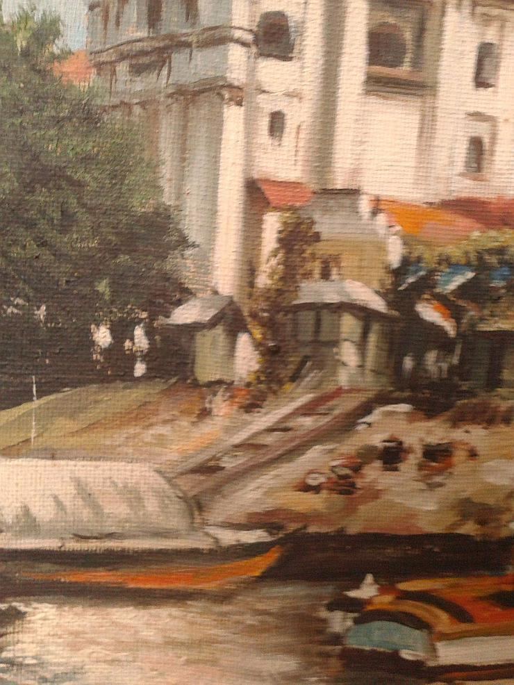 Bild 4: Kleines Ölgemälde Blick auf den Kanal