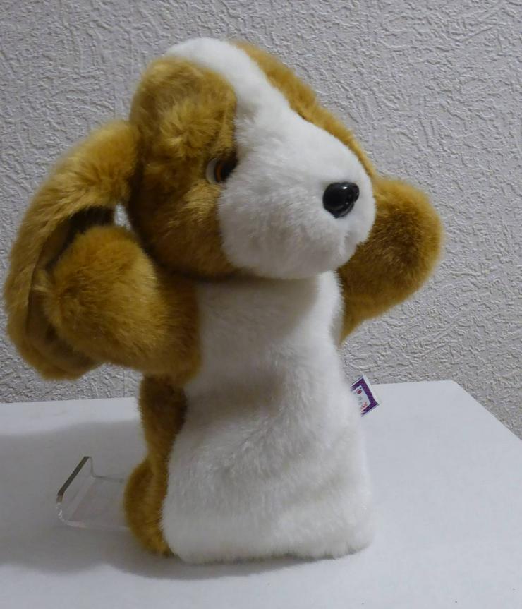 Handpuppe Kuschelwuschel-Hund braun/weiss 34 cm hoch