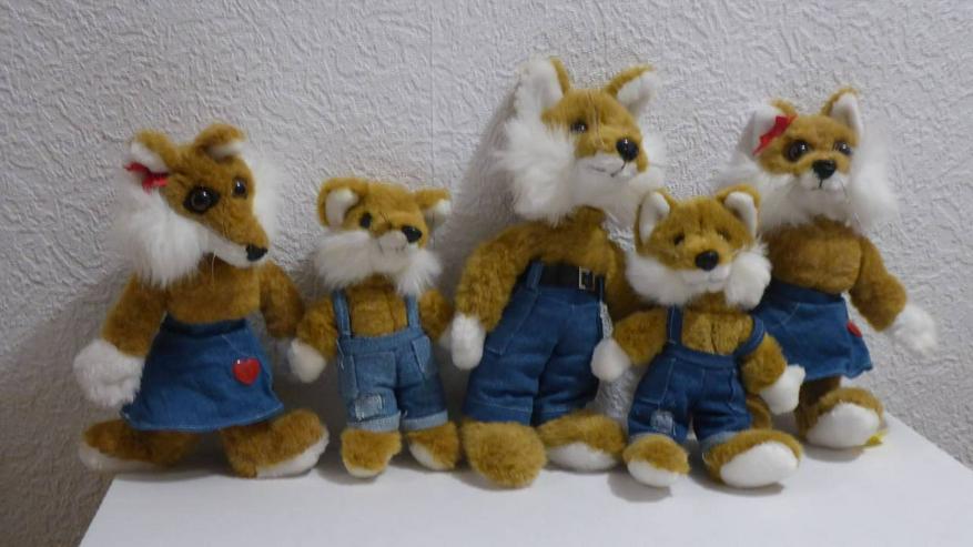 Fuchs Familie  5 Tiere verschiedene Größen - Teddybären & Kuscheltiere - Bild 1