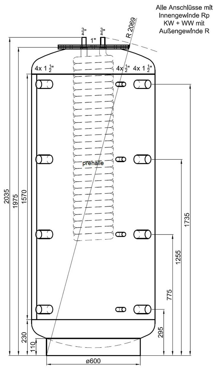 Hygiene Kombispeicher 1000L 1 EWT, 90° Anschluß Für Heizung Kamin - Durchlauferhitzer & Wasserspeicher - Bild 1