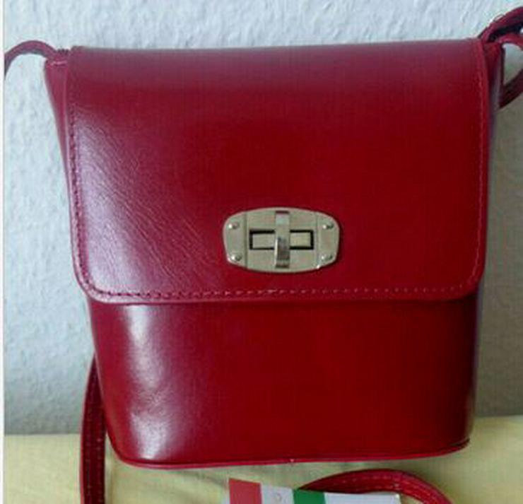 Bild 1: Umhängetasche rot Ledertasche Damentasche Abendtasche Leder LATTE & MIELE NEU