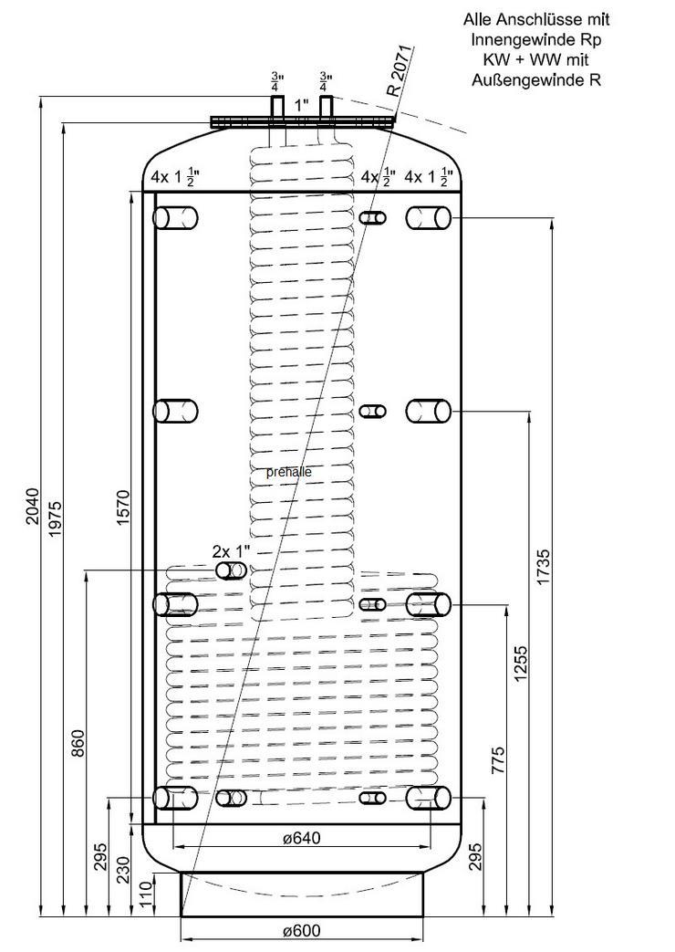Hygiene Kombispeicher 1000L 2 WT 90° Anschlüsse Für Heizung Solar