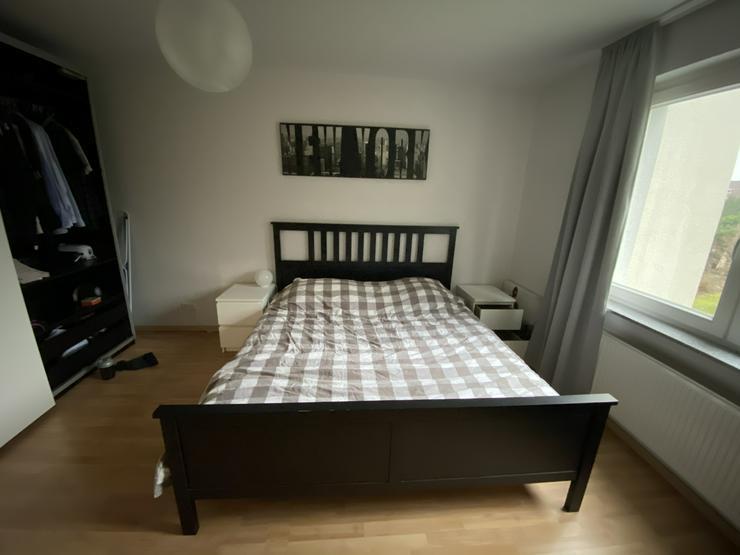 Ikea Hemnes Bettgestell braun 200 x 180 cm mit 2x Lidl Lattenrost