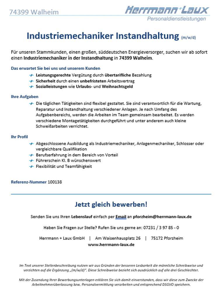 Industriemechaniker Instandhaltung (m/w/d)