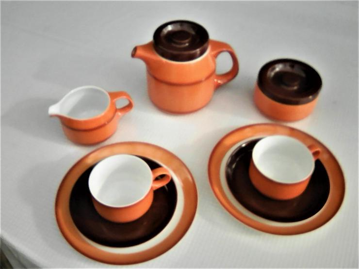 Kaffeegeschirr für 2 Personen; Arzberg Porzellan; 1 Kaffeekanne, 1 Milchgießer, 1 Zuckerdose, 2 Tassen, 2 Untertassen, 2 Kuchenteller