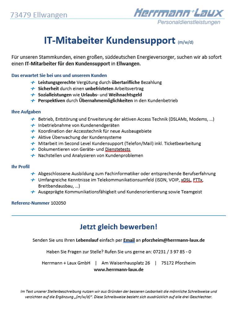IT-Mitabeiter Kundensupport (m/w/d)